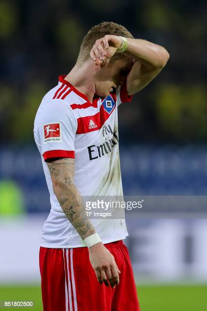 Andre Hahn of Hamburg looks on during the Bundesliga match between Hamburger SV and Borussia Dortmund at Volksparkstadion on September 20 2017 in...