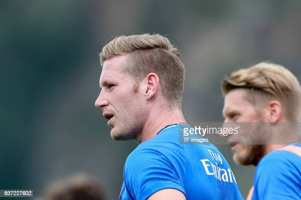 Andre Hahn of Hamburg looks on during the Training Camp of Hamburger SV on July 22 2017 in Laengenfeld Austria