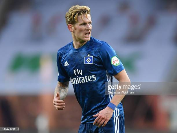 Andre Hahn of Hamburg looks over his shoulder during the Bundesliga match between FC Augsburg and Hamburger SV at WWKArena on January 13 2018 in...