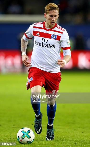 Andre Hahn of Hamburg runs with for the ball during the Bundesliga match between Hamburger SV and VfL Wolfsburg at Volksparkstadion on December 9...