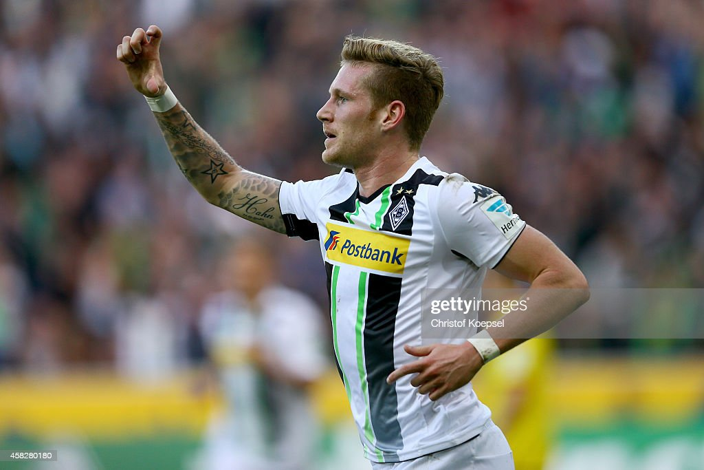 Andre Hahn of Moenchengladbach celebrates the first goal during the Bundesliga match between Borussia Moenchengladbach and 1899 Hoffenheim at Borussia Park Stadium on November 2, 2014 in Moenchengladbach, Germany.