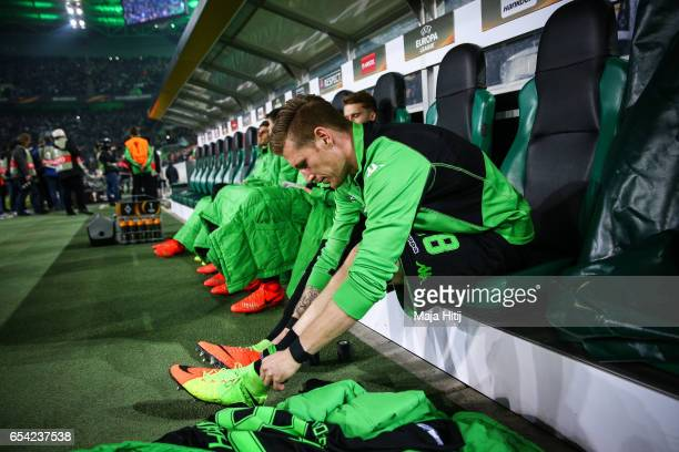 Andre Hahn of Moenchengladbach prepares prior the UEFA Europa League Round of 16 second leg match between Borussia Moenchengladbach and FC Schalke 04...