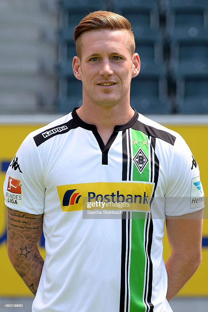 Andre Hahn poses during the team presentation of Borussia Moenchengladbach at Borussia-Park on July 10, 2015 in Moenchengladbach, Germany.