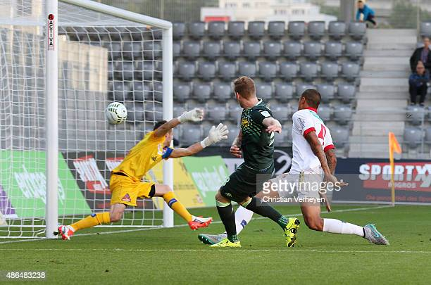 Andre Hahnl of Borussia Moenchengladbach scores the first goal during the UhrenCup match between FC Sion and Borussia Moenchengladbach at Tissot...