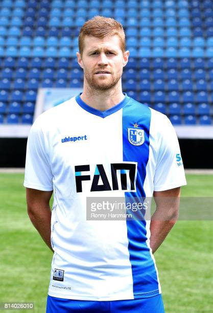 Andre Hainault poses during the team presentation of 1 FC Magdeburg at MDCCArena on July 13 2017 in Magdeburg Germany