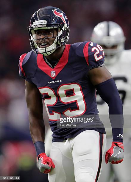 5a44c7701 Andre Hal of the Houston Texans celebrates a tackle during the first half of  the AFC