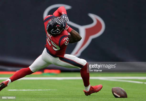 Andre Hal of the Houston Texans reacts after dropping a potential interception in the second half at NRG Stadium on December 10 2017 in Houston Texas