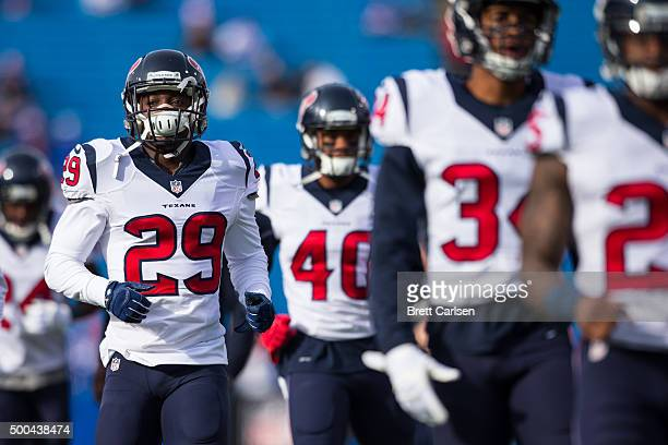 Andre Hal of the Houston Texans warms up with teammates before the game against the Buffalo Bills on December 6, 2015 at Ralph Wilson Stadium in...