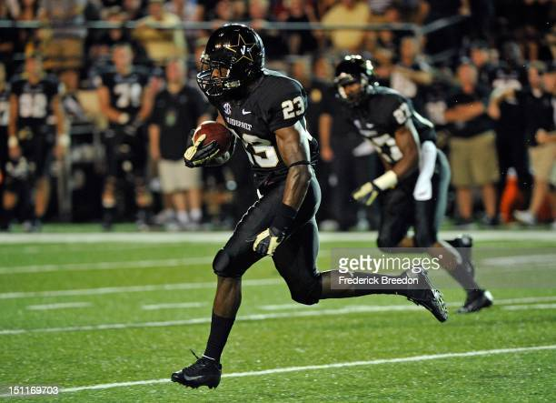Andre Hal of the Vanderbilt Commodores plays against the South Carolina Gamecocks at Vanderbilt Stadium on August 30 2012 in Nashville Tennessee