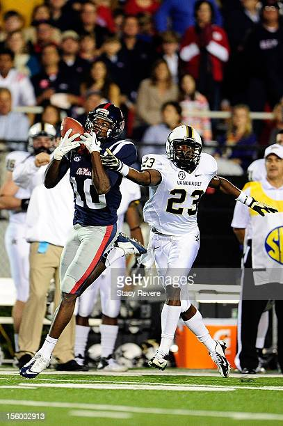 Andre Hall of the Vanderbilt Commodores is unable to defend a pass caught by Vincent Sanders of the Ole Miss Rebels during a game at VaughtHemingway...