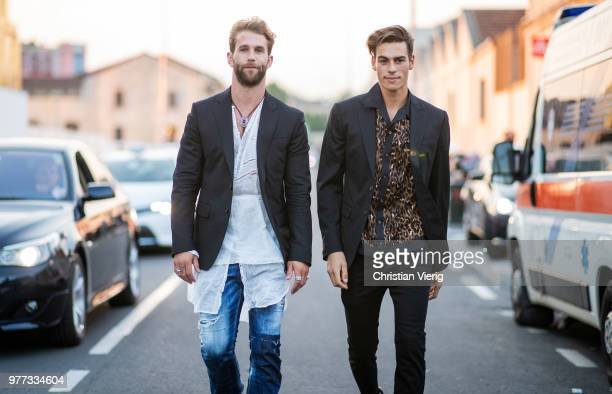 Andre Hamann and Corentin Huard seen outside Dsquared2 during Milan Men's Fashion Week Spring/Summer 2019 on June 17 2018 in Milan Italy