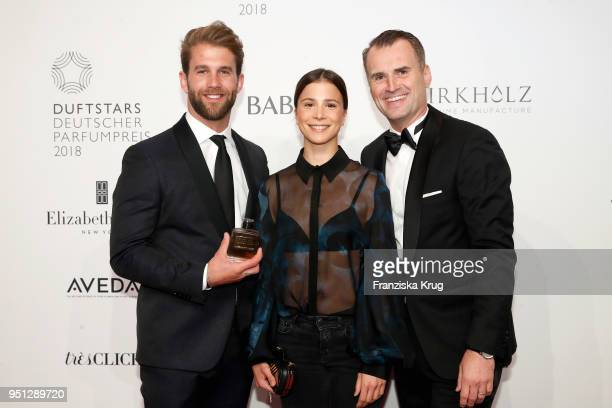 Andre Hamann Aylin Tezel and Jens Ciliax attend the Duftstars at Flughafen Tempelhof on April 25 2018 in Berlin Germany