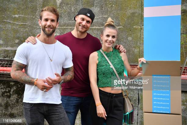 Andre Hamann, Mimi Kraus and Laura Yilmaz attends the Amazon #PrimeDayLive event at Muffathalle on July 09, 2019 in Munich, Germany.
