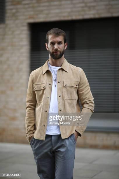 Andre Hamann wearing Belstaff jacket, Boss pants and Topman shirt on May 29, 2020 in Hamburg, Germany.