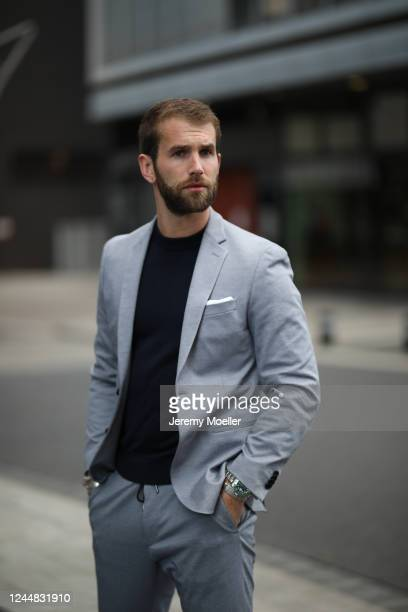 Andre Hamann wearing Boss suit on May 29, 2020 in Hamburg, Germany.