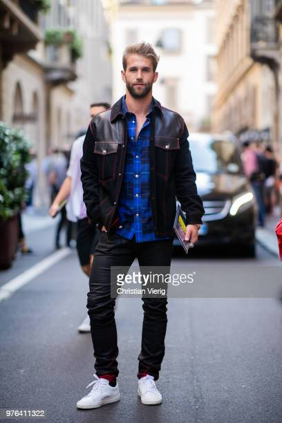 Andre Hamann wearing leather denim jacket is seen outside Versace during Milan Men's Fashion Week Spring/Summer 2019 on June 16 2018 in Milan Italy