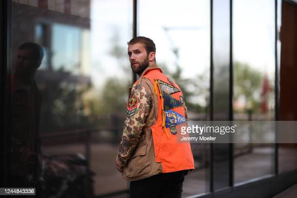 Andre Hamann wearing Polo Ralph Lauren jacket and Mother jeans on May 29, 2020 in Hamburg, Germany.