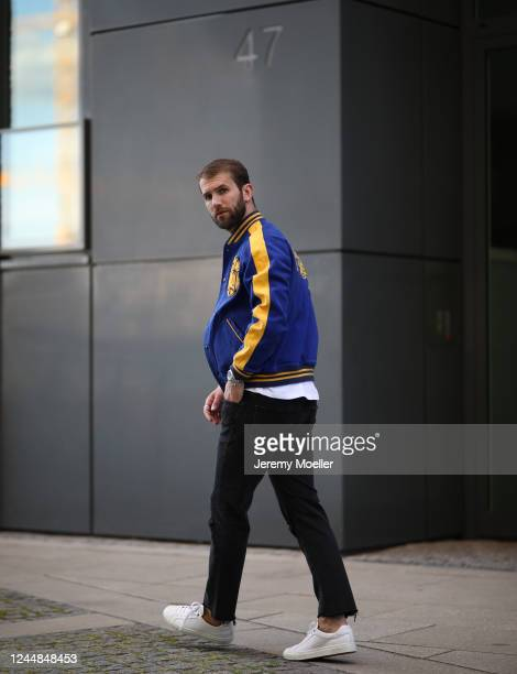 Andre Hamann wearing Polo Ralph Lauren, Topman Shirt, Mother jeans and Boss sneaker on May 29, 2020 in Hamburg, Germany.