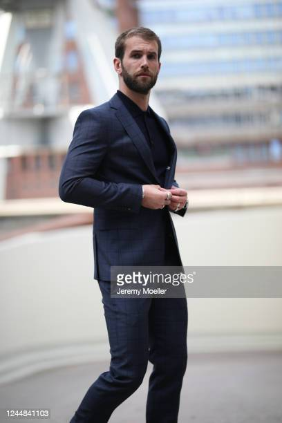 Andre Hamann wearing Strellson suit on May 29, 2020 in Hamburg, Germany.