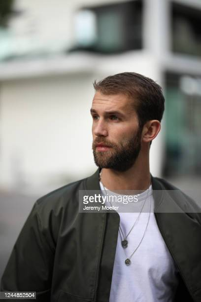 Andre Hamann wearing Topman jacket and shirt on May 29, 2020 in Hamburg, Germany.