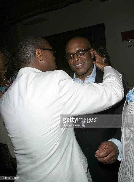 Andre Harrel and LA Reid during The Sean John Party at Lobby at Lobby in New York City New York United States