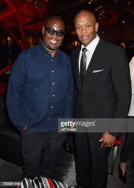 """Andre Harrell and Dr. Dre attend HBO's """"The Defiant Ones"""" premiere at Paramount Studios on June 22, 2017 in Los Angeles, California."""