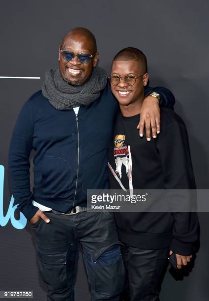 Andre Harrell and Gianni Harrell attend GQ's 2018 AllStars Celebration at Nomad Hotel Los Angeles on February 17 2018 in Los Angeles California