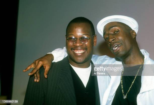Andre Harrell and Grandmaster Flash aka Joseph Saddler) hang out backstage at The Apollo Theater on January 10, 1994 in New York City.