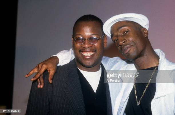 Andre Harrell and Grandmaster Flash hang out backstage at The Apollo Theater on January 10, 1994 in New York City.