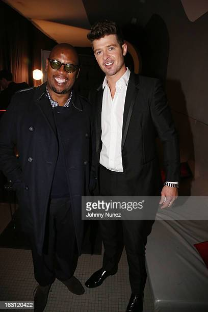 Andre Harrell and Robin Thicke attend the Remy Martin VSOP Ringleader Culmination Event with Robin Thicke at Marquee on March 4 2013 in New York City