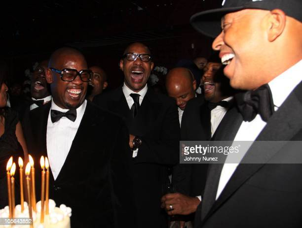 Andre Harrell and Russell Simmons attend Andre Harrell's 50th birthday party at The Darby restaurant on October 16 2010 in New York City