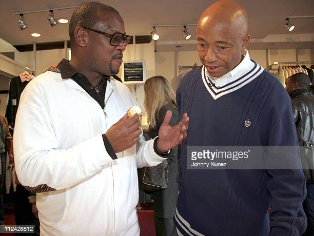 Andre Harrell and Russell Simmons during Phat Farm Press Breakfast October 28 2005 at Phat Farm offices in New York City New York United States