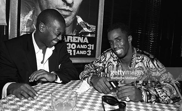 Andre Harrell and Sean 'Diddy' Combs pose for a photo at a party after Lifebeat's Urban Aid benefit concert at Madison Square Garden on October 5...