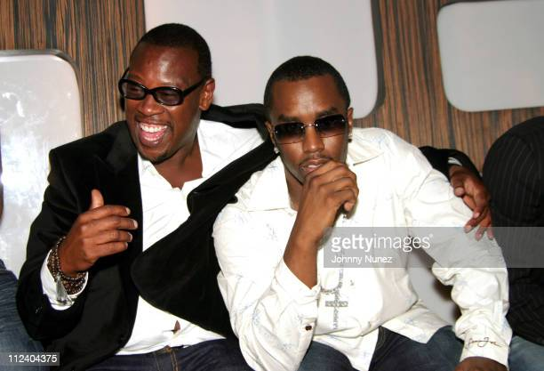 Andre Harrell and Sean 'P Diddy' Combs during Andre Harrell Birthday Party at 17 in New York City New York United States