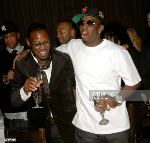 Andre Harrell and Sean PDiddy Combs during Sean P Diddy Combs' Surprise 35th Birthday Party at Figa in New York City New York United States