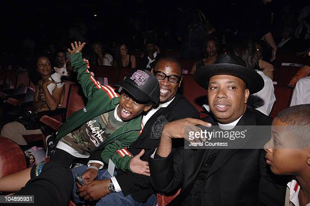 Andre Harrell and son with Reverend Run during Olympus Fashion Week Spring 2006 Baby Phat Front Row and Backstage at Radio City Music Hall in New...