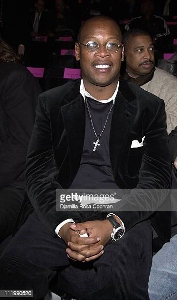 Andre Harrell during MercedesBenz Fashion Week Fall 2003 Collections Baby Phat Front Row and Backstage at Bryant Park in New York City New York...