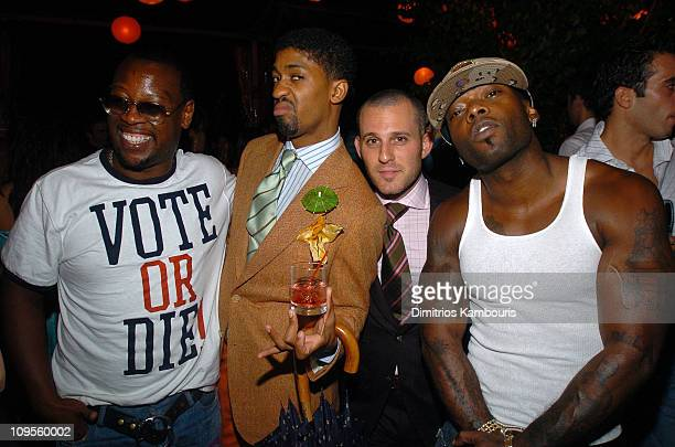 Andre Harrell Fonzworth Bentley and Treach during Olympus Fashion Week Spring 2005 Marc Jacobs After Party at Pier 54 in New York City New York...