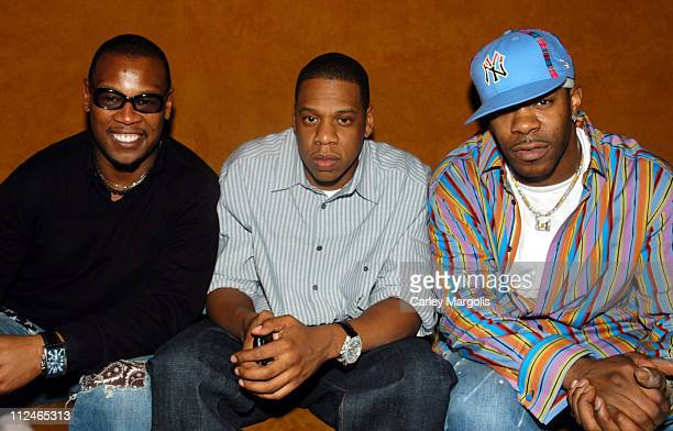 Andre Harrell JayZ and Busta Rhymes during Naomi Campbell Cohosts Sky Wednesdays at The 40/40 Club February 9 2005 at The 40/40 Club in New York City...
