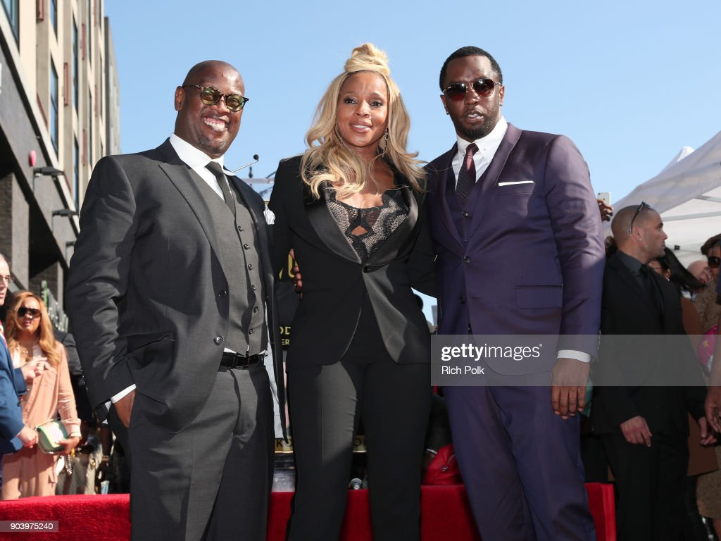 Andre Harrell, Mary J. Blige, and Sean 'Diddy' Combs at Mary J. Blige star ceremony on January 11, 2018 in Hollywood, California.