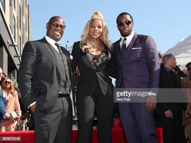 Andre Harrell Mary J Blige and Sean 'Diddy' Combs at Mary J Blige star ceremony on January 11 2018 in Hollywood California