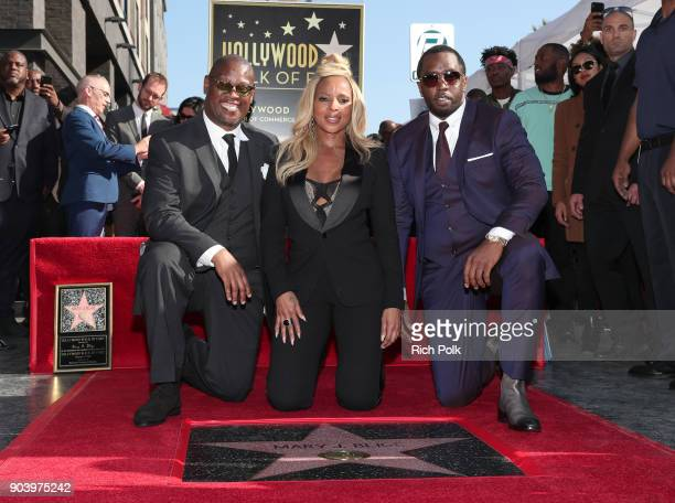Andre Harrell Mary J Blige and Sean 'Diddy' Combs attend the ceremony honoring Mary J Blige with a Star on The Hollywood Walk of Fame on on January...