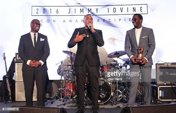 Andre Harrell REVOLT Vice Chairman and Chair of the REVOLT Music Conference Nas and Sean 'Diddy' Combs on stage at the 2016 REVOLT Music Conference...