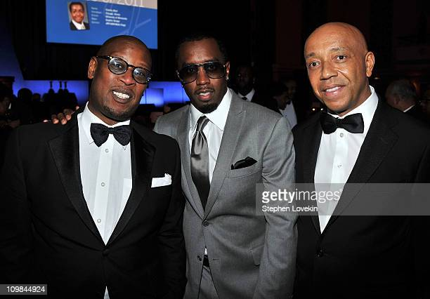 Andre Harrell Sean Diddy Combs and Russell Simmons attend the 2011 Jackie Robinson Foundation awards gala atThe Waldorf=Astoria on March 7 2011 in...