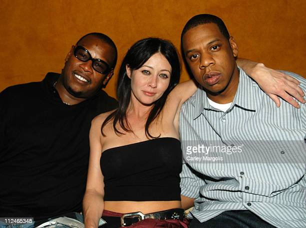 Andre Harrell Shannen Doherty and JayZ during Naomi Campbell Cohosts Sky Wednesdays at The 40/40 Club February 9 2005 at The 40/40 Club in New York...
