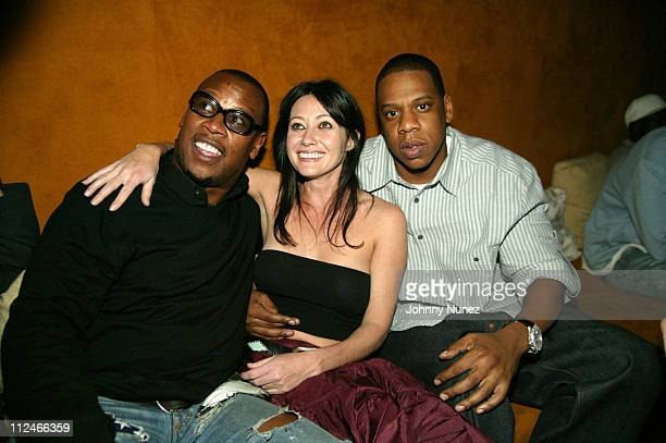 Andre Harrell Shannen Doherty and JayZ during Naomi Campbell CoHosts Sky Wednesdays at The 40/40 Club February 9 2005 at 40/40 in New York City New...