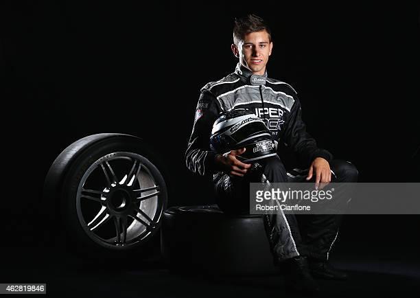 Andre Heimgartner driver of the Super Black Racing Ford poses during a V8 Supercars driver portrait session at Sydney Motorsport Park on February 6...