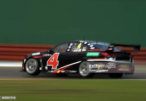 Andre Heimgartner drives the Plus Fitness Racing Holden during practice ahead of V8 Supercars Sandown 500 at Sandown International Motor Raceway on...