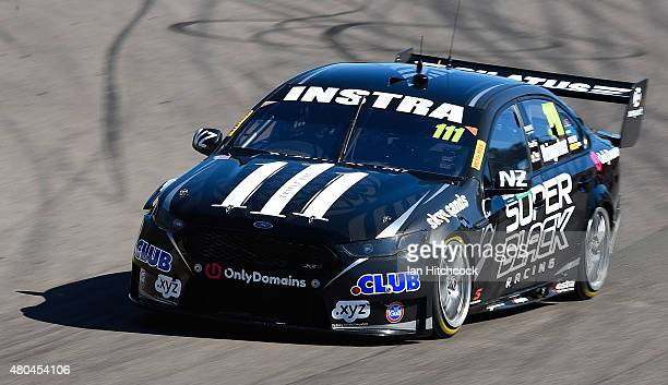 Andre Heimgartner drives the Super Black Racing Ford during the top ten shoot out for race 17 of the Townsville 400 at Reid Park on July 12 2015 in...