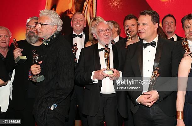 Andre Heller Dieter Hallervorden designer Guido Maria Kretschmer with award during the 26th ROMY Award 2015 at Hofburg Vienna on April 25 2015 in...